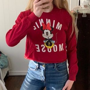 DISNEY MINNIE MOUSE CROPPED LONG SLEEVE TEE